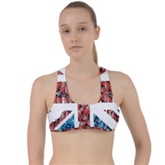 Fun And Unique Illustration Of The Uk Union Jack Flag Made Up Of Cartoon Ladybugs Criss Cross Racerback Sports Bra
