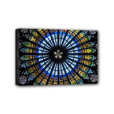 Stained Glass Rose Window In France s Strasbourg Cathedral Mini Canvas 6  X 4