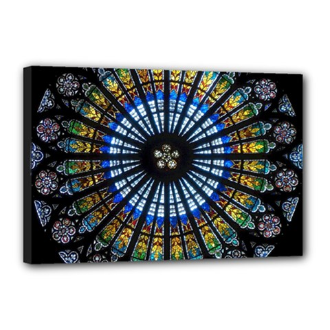 Stained Glass Rose Window In France s Strasbourg Cathedral Canvas 18  x 12