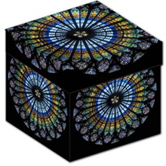 Stained Glass Rose Window In France s Strasbourg Cathedral Storage Stool 12