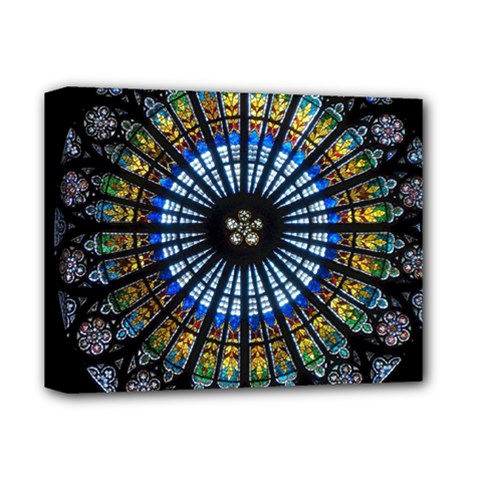Stained Glass Rose Window In France s Strasbourg Cathedral Deluxe Canvas 14  X 11