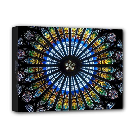 Stained Glass Rose Window In France s Strasbourg Cathedral Deluxe Canvas 16  X 12