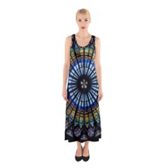 Stained Glass Rose Window In France s Strasbourg Cathedral Sleeveless Maxi Dress