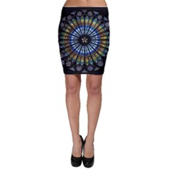 Stained Glass Rose Window In France s Strasbourg Cathedral Bodycon Skirt