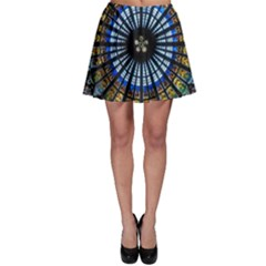 Stained Glass Rose Window In France s Strasbourg Cathedral Skater Skirt
