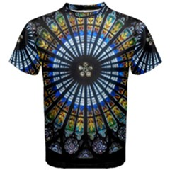 Stained Glass Rose Window In France s Strasbourg Cathedral Men s Cotton Tee