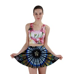 Stained Glass Rose Window In France s Strasbourg Cathedral Mini Skirt