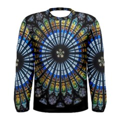 Stained Glass Rose Window In France s Strasbourg Cathedral Men s Long Sleeve Tee