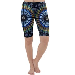 Stained Glass Rose Window In France s Strasbourg Cathedral Cropped Leggings