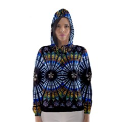Stained Glass Rose Window In France s Strasbourg Cathedral Hooded Wind Breaker (Women)