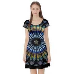 Stained Glass Rose Window In France s Strasbourg Cathedral Short Sleeve Skater Dress