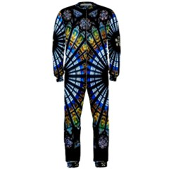 Stained Glass Rose Window In France s Strasbourg Cathedral OnePiece Jumpsuit (Men)