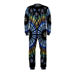 Stained Glass Rose Window In France s Strasbourg Cathedral Onepiece Jumpsuit (kids)