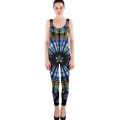 Stained Glass Rose Window In France s Strasbourg Cathedral Onepiece Catsuit