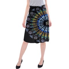 Stained Glass Rose Window In France s Strasbourg Cathedral Midi Beach Skirt