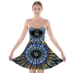 Stained Glass Rose Window In France s Strasbourg Cathedral Strapless Bra Top Dress