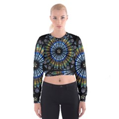 Stained Glass Rose Window In France s Strasbourg Cathedral Cropped Sweatshirt