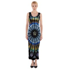 Stained Glass Rose Window In France s Strasbourg Cathedral Fitted Maxi Dress