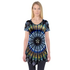 Stained Glass Rose Window In France s Strasbourg Cathedral Short Sleeve Tunic