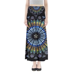 Stained Glass Rose Window In France s Strasbourg Cathedral Full Length Maxi Skirt