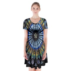 Stained Glass Rose Window In France s Strasbourg Cathedral Short Sleeve V Neck Flare Dress