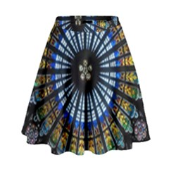 Stained Glass Rose Window In France s Strasbourg Cathedral High Waist Skirt