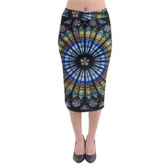 Stained Glass Rose Window In France s Strasbourg Cathedral Midi Pencil Skirt