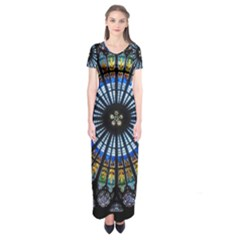 Stained Glass Rose Window In France s Strasbourg Cathedral Short Sleeve Maxi Dress
