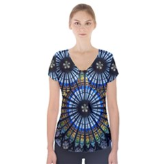 Stained Glass Rose Window In France s Strasbourg Cathedral Short Sleeve Front Detail Top