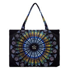 Stained Glass Rose Window In France s Strasbourg Cathedral Medium Tote Bag
