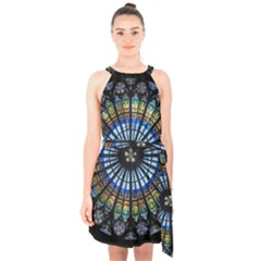 Stained Glass Rose Window In France s Strasbourg Cathedral Halter Collar Waist Tie Chiffon Dress