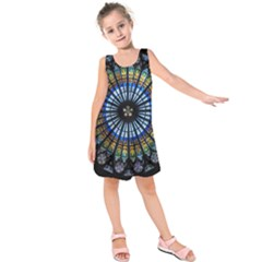 Stained Glass Rose Window In France s Strasbourg Cathedral Kids  Sleeveless Dress