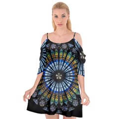 Stained Glass Rose Window In France s Strasbourg Cathedral Cutout Spaghetti Strap Chiffon Dress