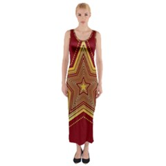 Christmas Star Seamless Pattern Fitted Maxi Dress