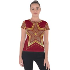Christmas Star Seamless Pattern Short Sleeve Sports Top