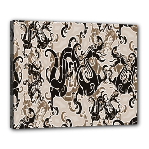 Dragon Pattern Background Canvas 20  x 16