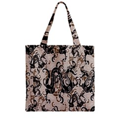 Dragon Pattern Background Zipper Grocery Tote Bag
