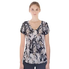 Dragon Pattern Background Short Sleeve Front Detail Top