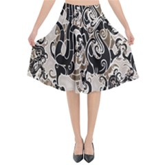 Dragon Pattern Background Flared Midi Skirt