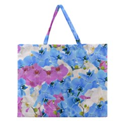 Tulips Floral Pattern Zipper Large Tote Bag