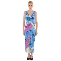 Tulips Floral Pattern Fitted Maxi Dress