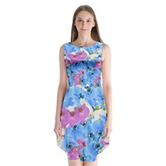 Tulips Floral Pattern Sleeveless Chiffon Dress