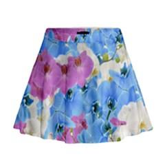 Tulips Floral Pattern Mini Flare Skirt
