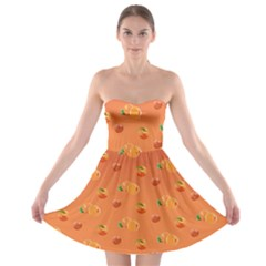 Peach Fruit Pattern Strapless Bra Top Dress