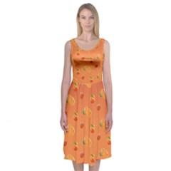 Peach Fruit Pattern Midi Sleeveless Dress