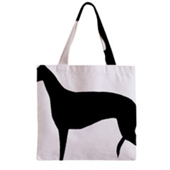 Greyhound Silhouette Zipper Grocery Tote Bag