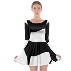 Greyhound Silhouette Long Sleeve Skater Dress