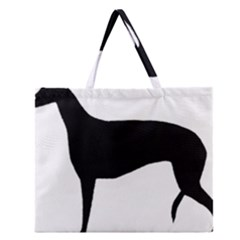 Greyhound Silhouette Zipper Large Tote Bag