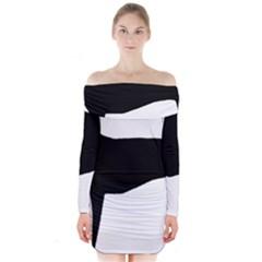 Greyhound Silhouette Long Sleeve Off Shoulder Dress