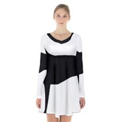Greyhound Silhouette Long Sleeve Velvet V-neck Dress